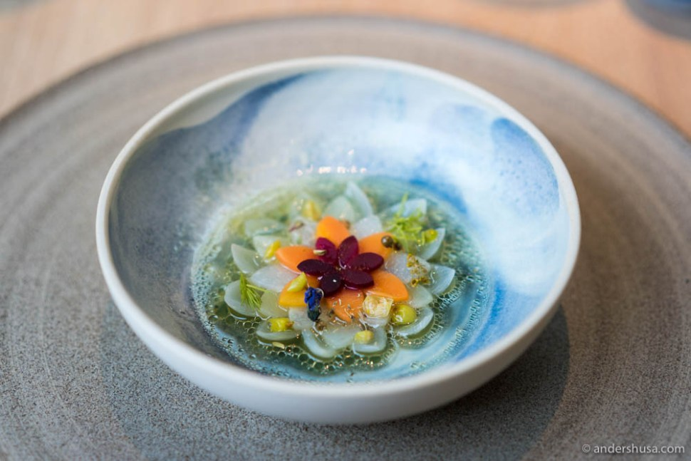 Pickled vegetables and Arctic herbs – pickled onions, parsnip, and carrots in elderflower juice served with white currants and Arctic herbs