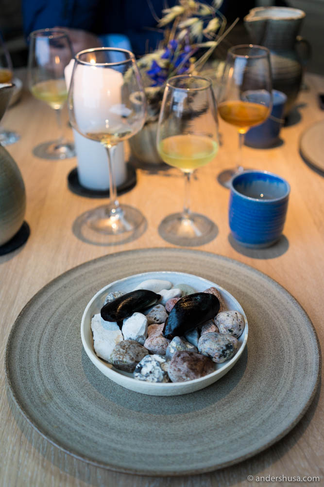 Black, fermented pears shells with kelp ice cream, beetroot, dried Aronia berries and licorice sauce