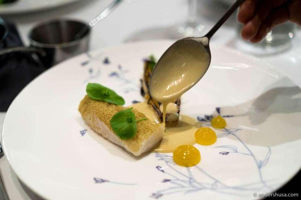 Icelandic cod, oxeye chamomile, endive, oysters & lemon gel