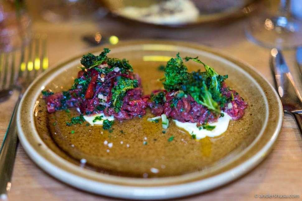 Beef tartar with cucumber, elderflower & kale