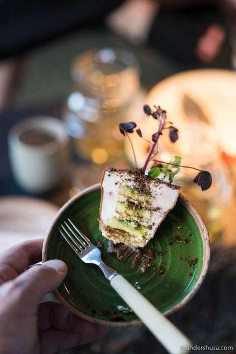 Plant cake cut in half