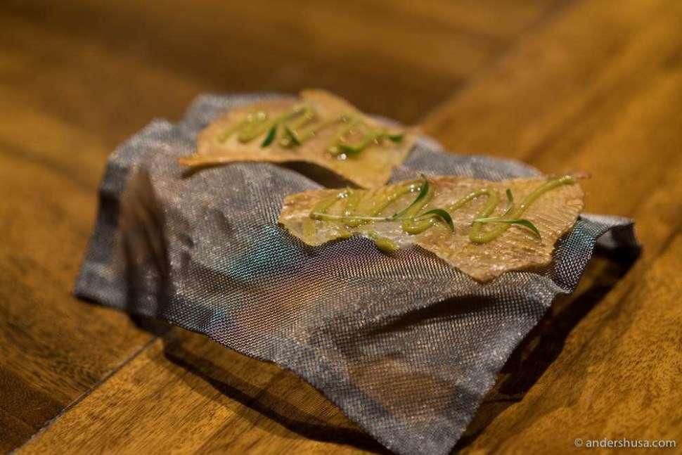 Thai green curry on a crispy chicken skin