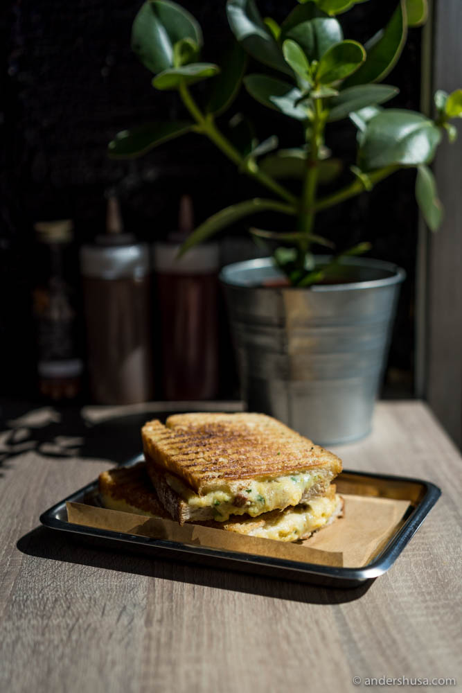Grilled Cheese Sandwich With Egg & Bacon