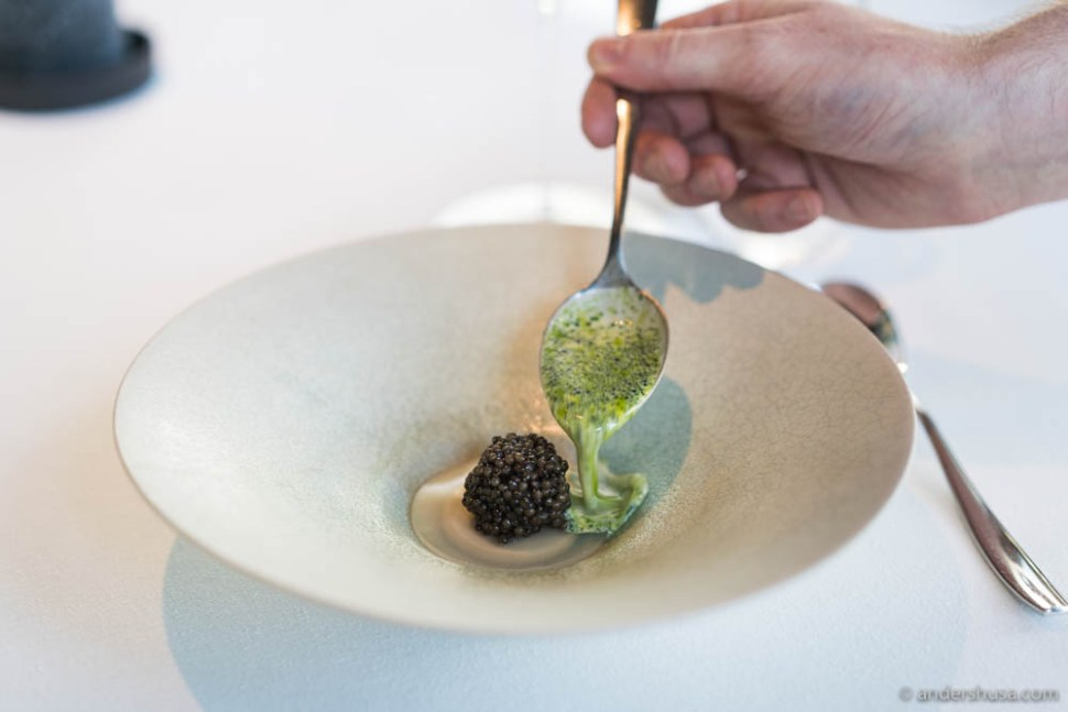 Emulsion of oysters from Bømlo, sauce of mussels and dill & caviar.