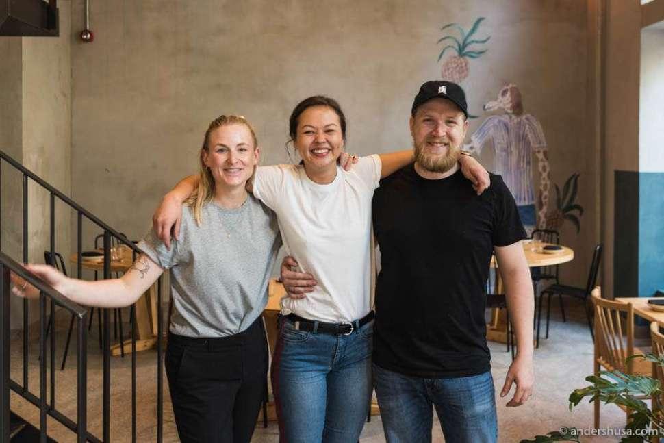 Front of house Stefanie Schneider, restaurant manager Natalie Fryxell, and head sommelier Petter Svanæs