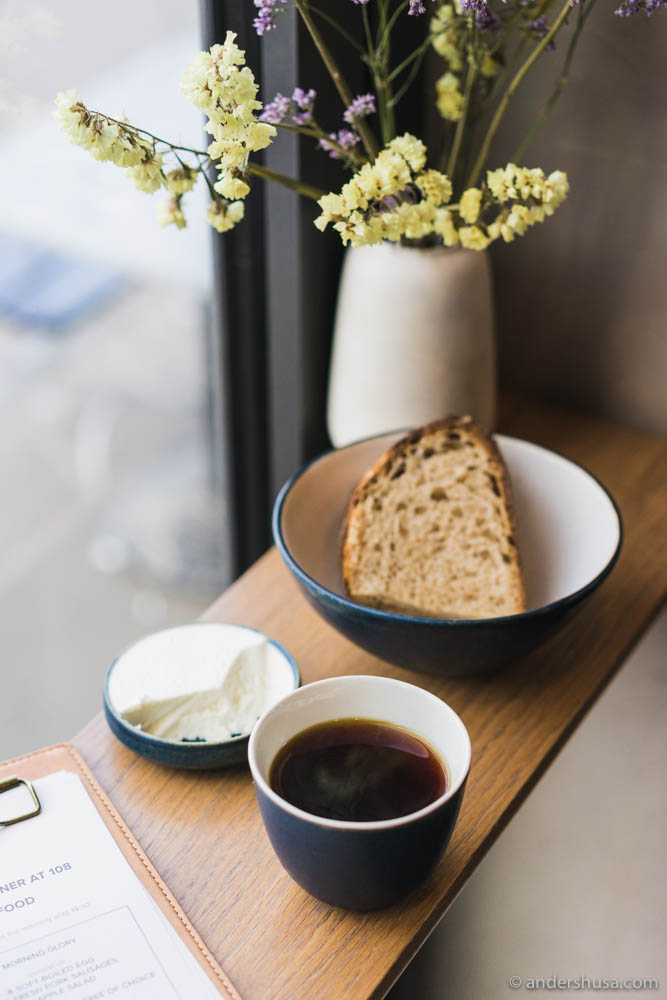 Bread, butter, and coffee for breakfast