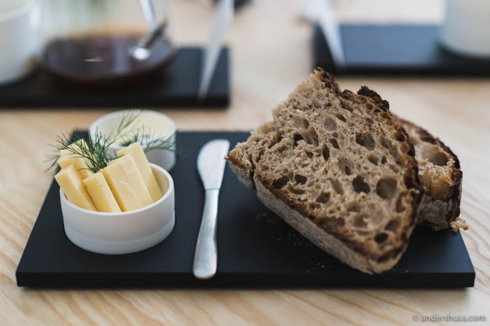 Sourdough bread with cheese and butter