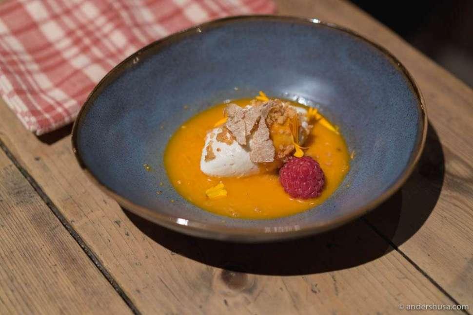 Ricotta mousse with vanilla, salty caramel, sea buckthorn sauce & winter raspberry