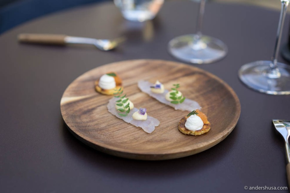 Blini with løyrom (vendace roe) & Snøfrisk (cream cheese), and red perch sashimi with herbs & lemon mayo