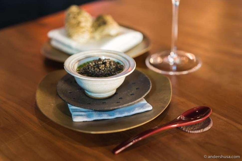 Chawanmushi, Frantzén Prestige Selection caviar & aged pork broth. Pork rinds on the side.