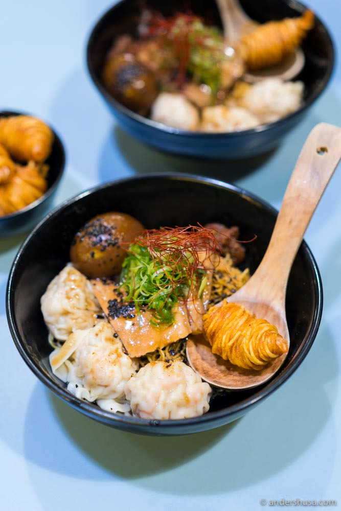 Noodle soup with tornado shrimps