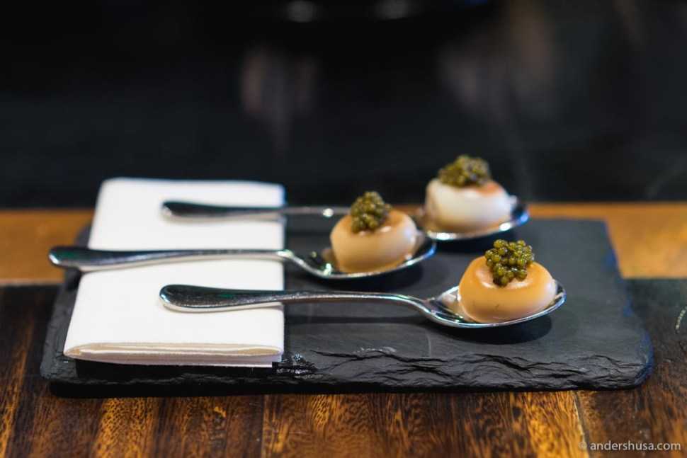 Smoked quail egg with caviar at Burnt Ends