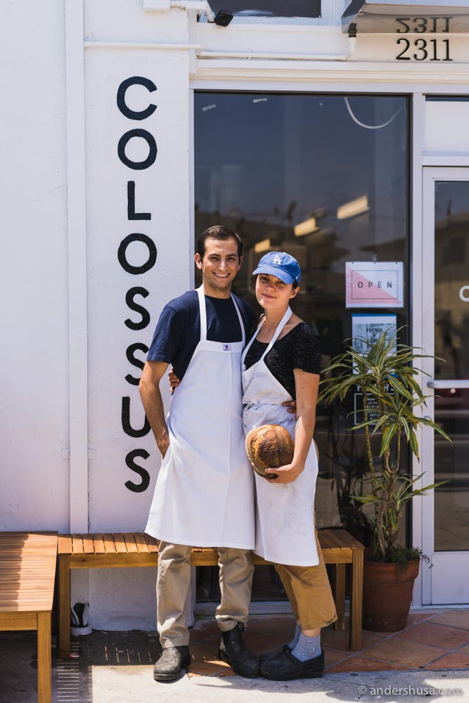 Kristin and Nicholas – the proud owners outside their newly-opened bakery