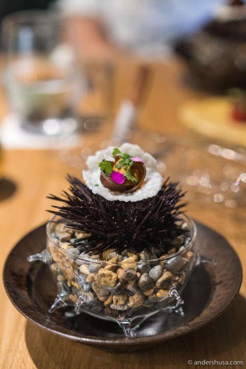 Sea urchin, rice & suika naratsuke (watermelon pickled in sake-lees)