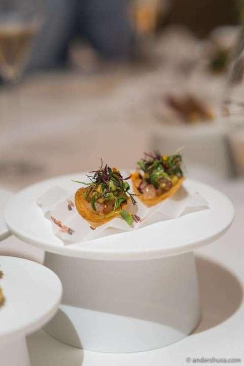 Botan ebi (shrimp) taco & local fresh herbs.