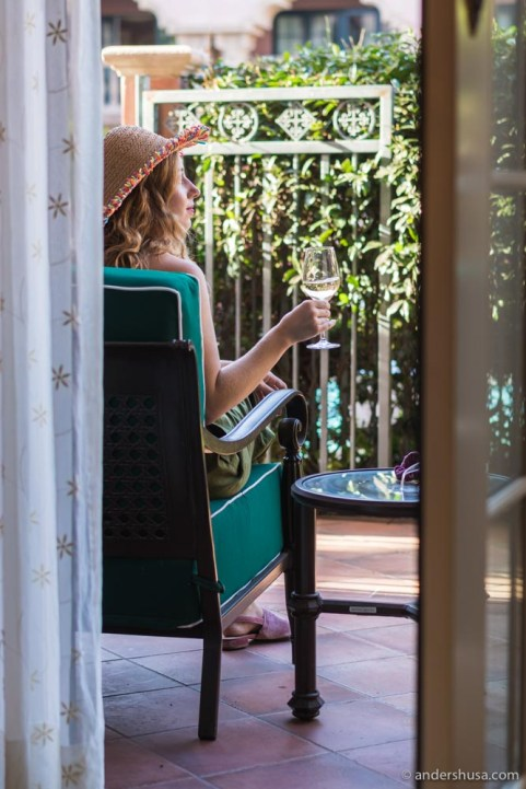 Enjoying a glass on our private patio.