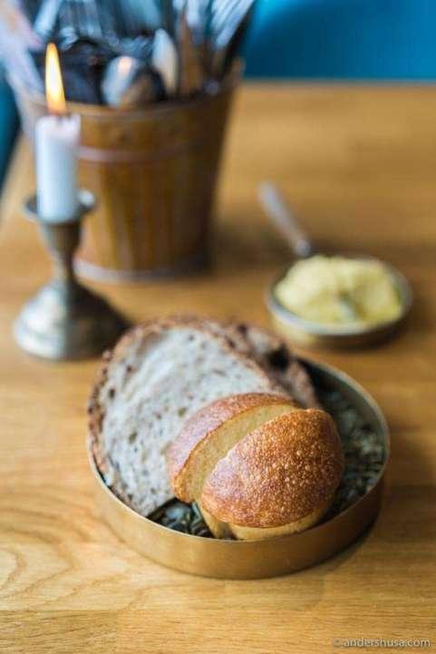 Brioche, sourdough, and butter.
