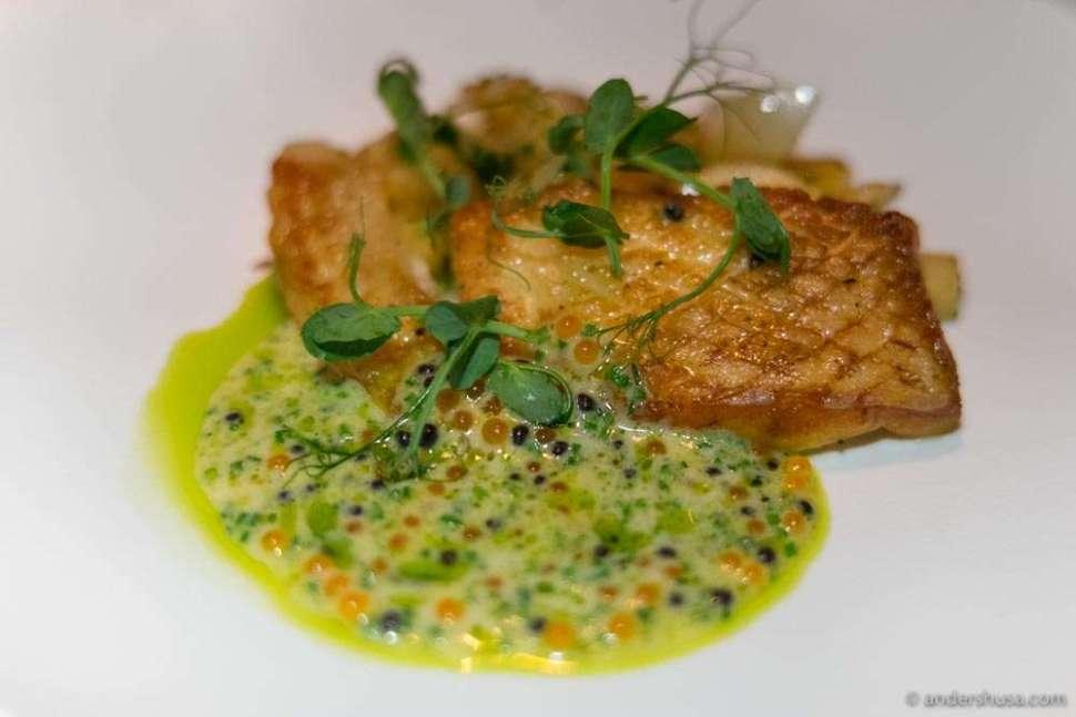 Turbot, parsnip, pak choi, and espuma sauce of fish stock with salmon roe & Avruga caviar.