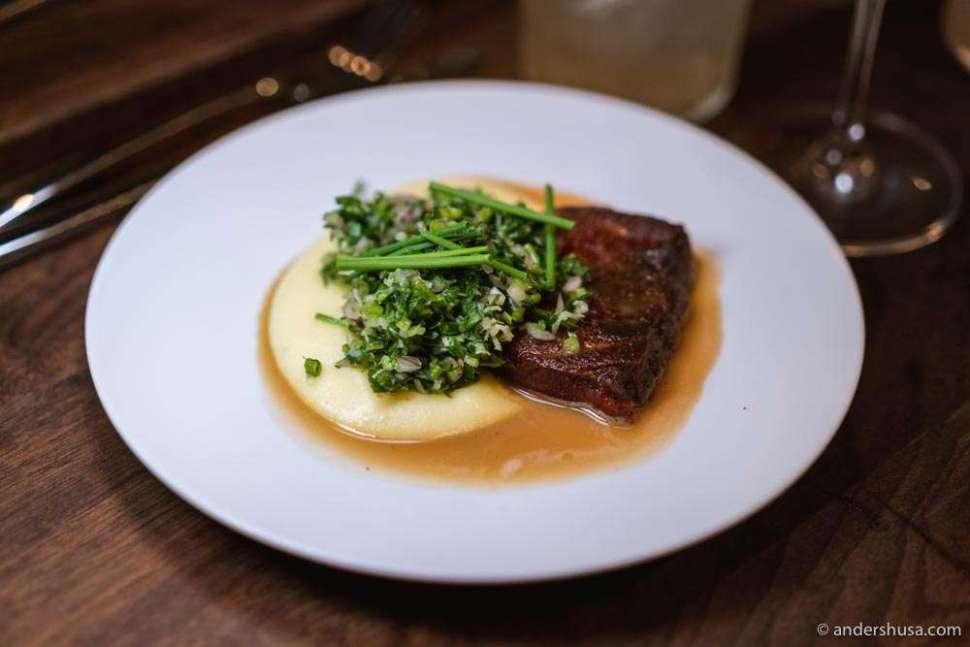 "Slow-cooked ox tongue, potato purée, parsley ""chimichurri"" and horseradish."