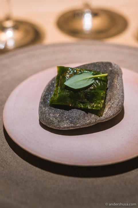 Danish fjord shrimp fried and wrapped in a sea lettuce «ravioli.»