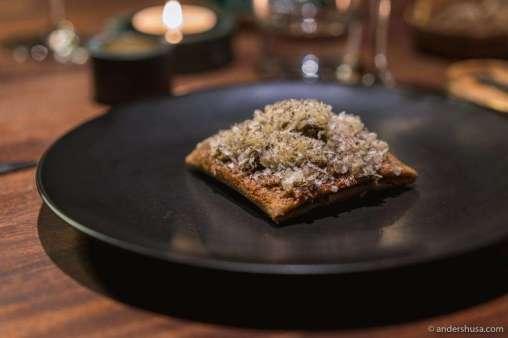 Buckwheat pancake with mushrooms, cheese, and black truffle