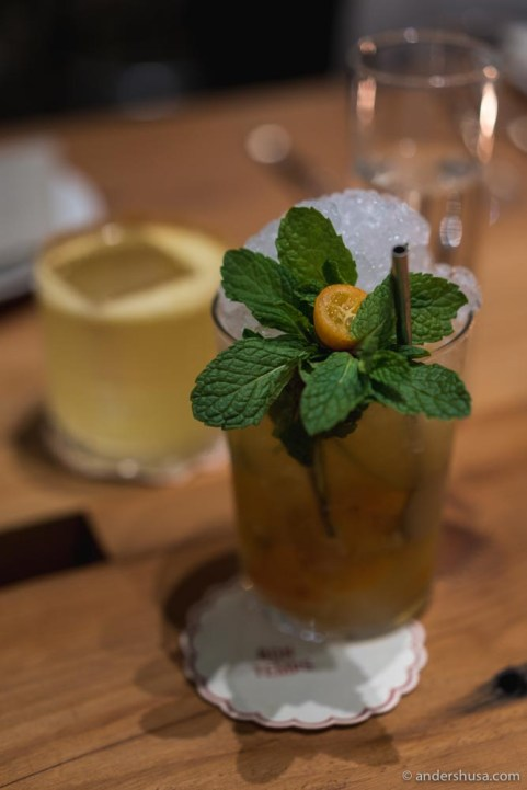 Kumquat Caiprinha – cachaca, fresh kumquat, lime, tamarind.