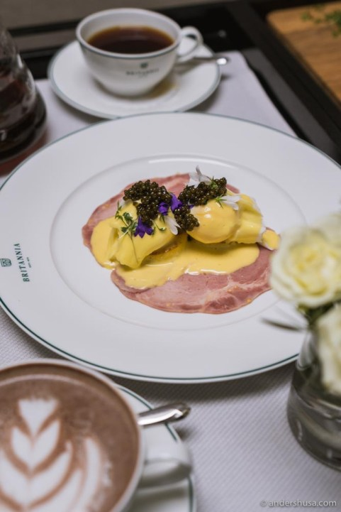 Eggs Benedict topped with Rossini caviar