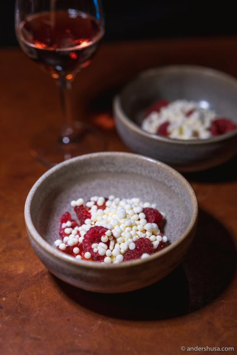 Rugosa with raspberries and sour cream.