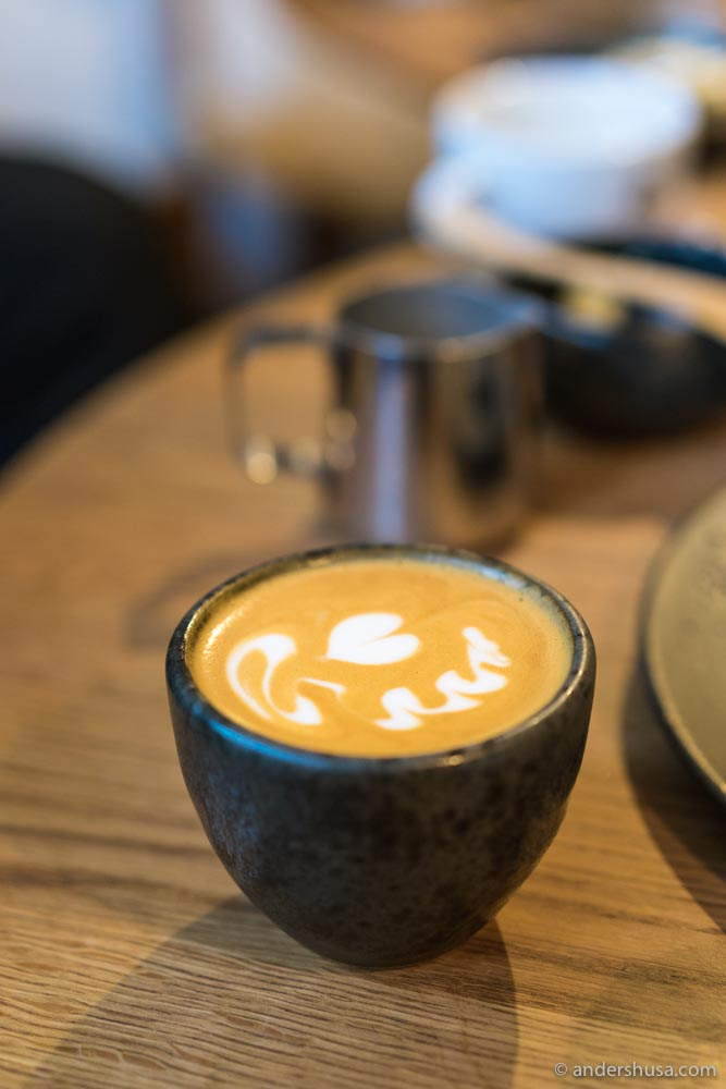 Espresso-based drinks and pour-overs are available.