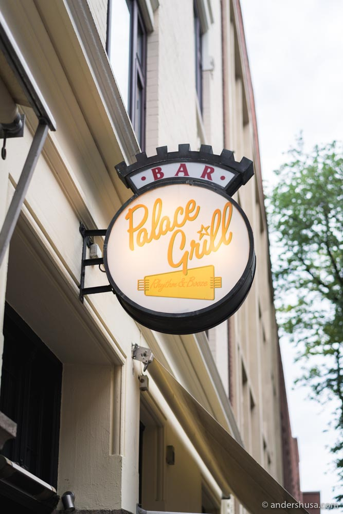 Rhythm & Booze is the slogan of Palace Grill.