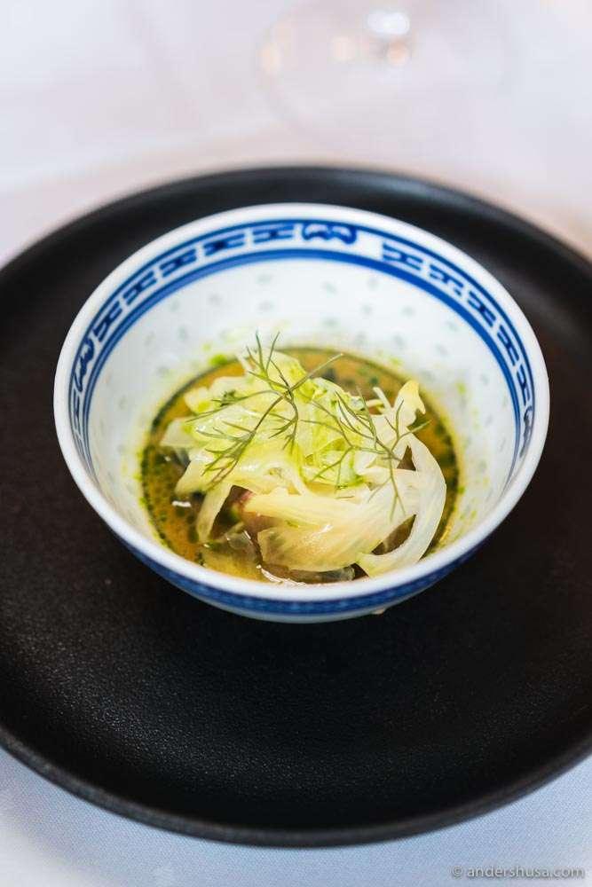 Raw shrimps from Lyngør, mackerel, fennel, dill, mushroom soy sauce, and ponzu.