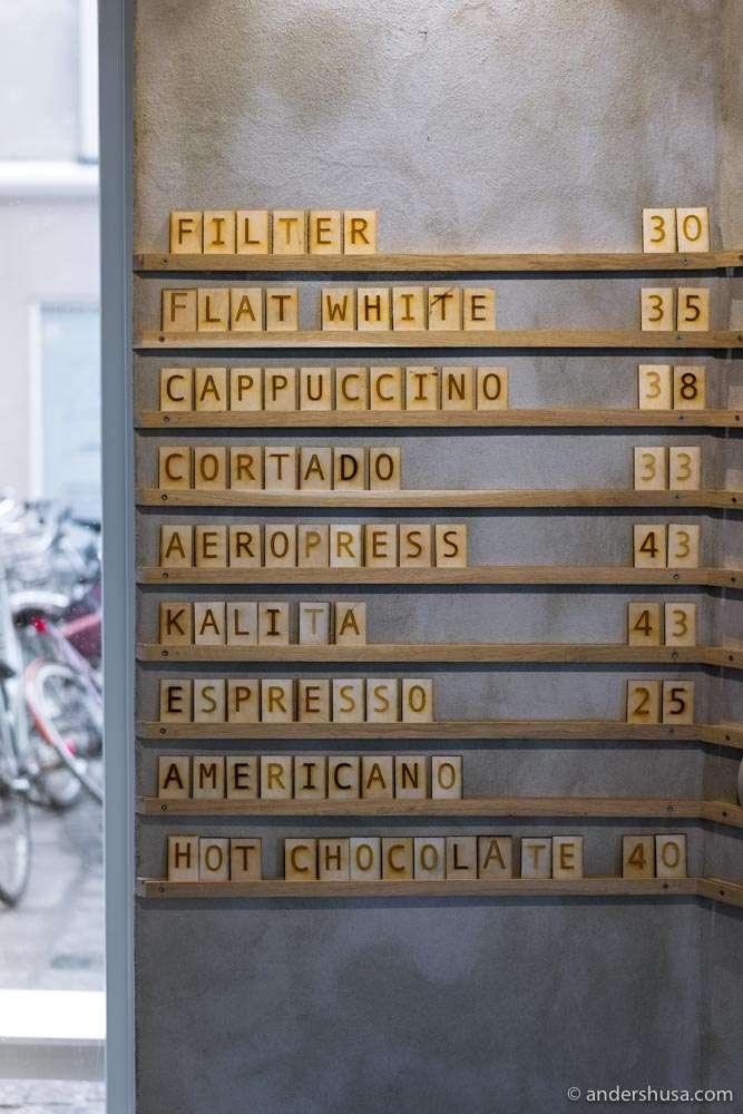 The menu at Andersen & Maillard.