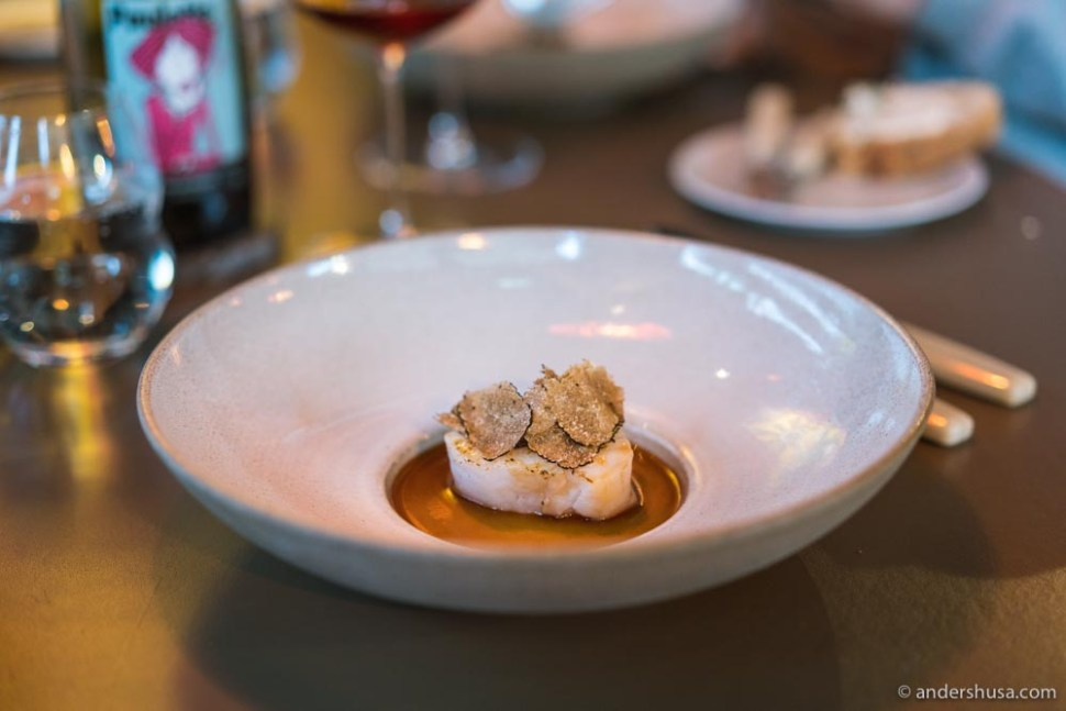 Cod, chicken jus, and black truffle.