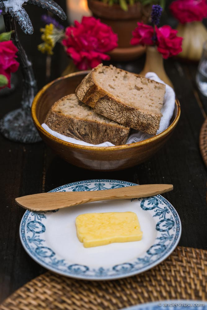 Chef Scott's incredible sourdough bread with local grains, and kefir cultured butter.