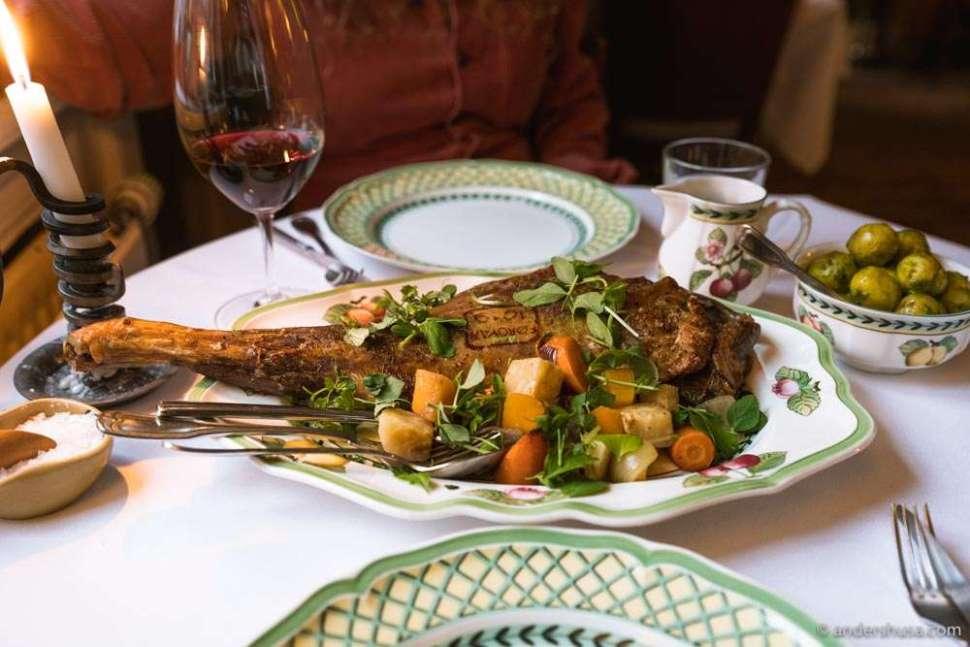 The Faroese leg of lamb is the signature dish at Áarstova.