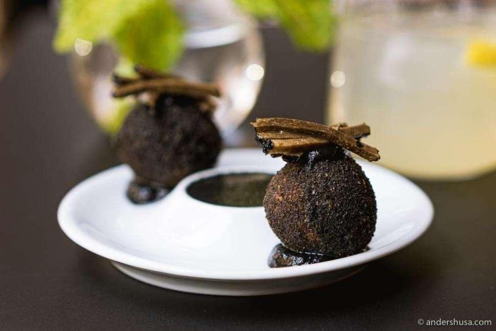 Falafel with black truffle and mushroom.