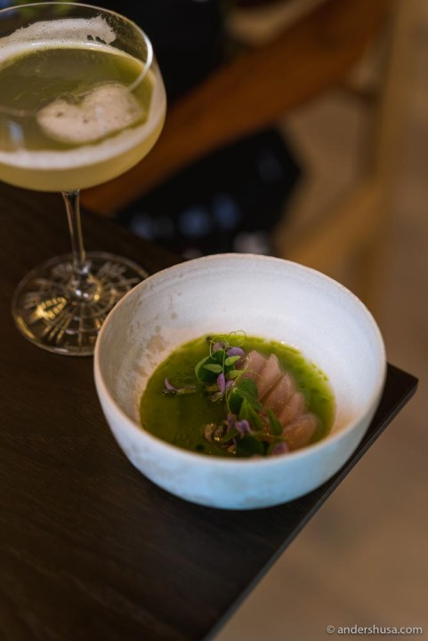 Raw mackerel, pea and gooseberry juice, dill oil, chamomile gel, and flowers.