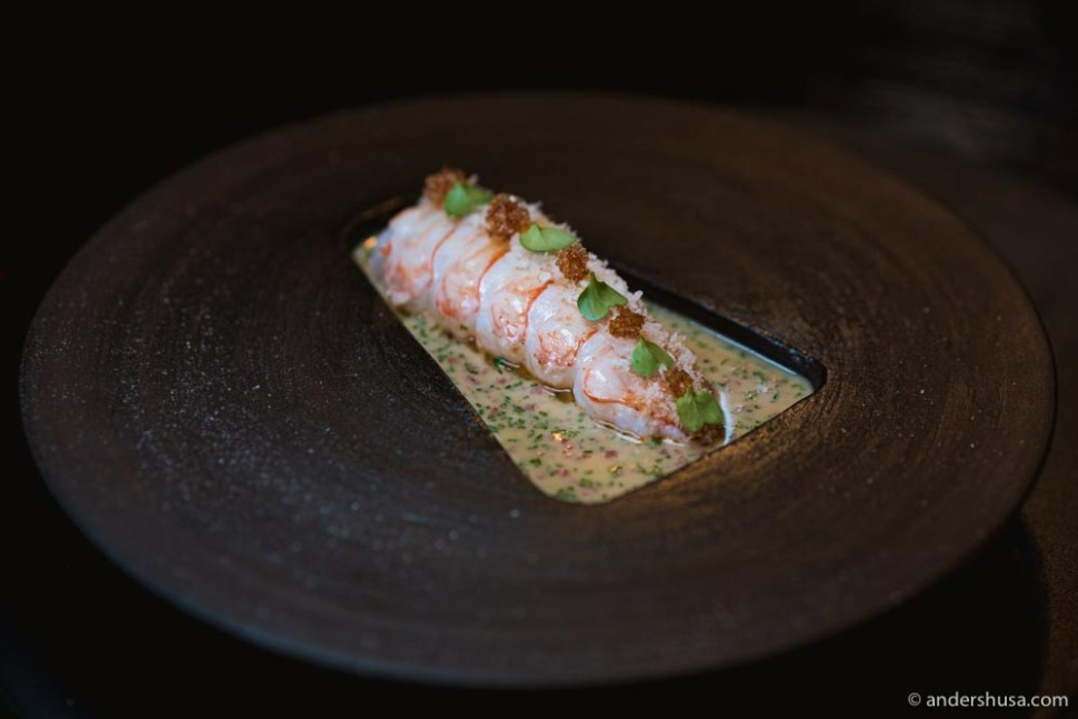 Croatian langoustine with veal tongue, chives, crunchy bread crumbs, and a butter sauce.
