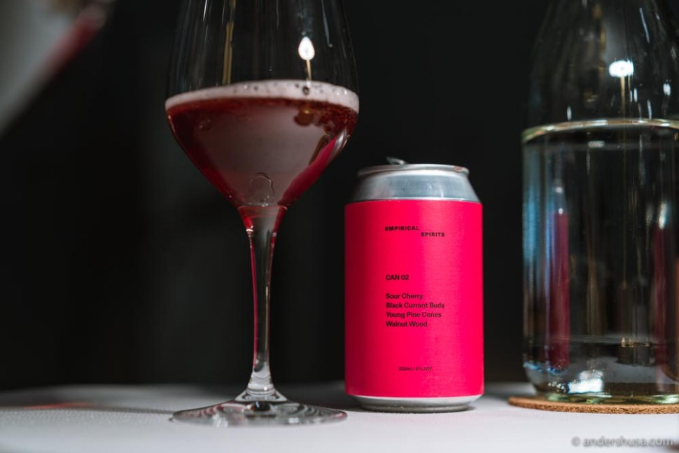 Empirical's Can 02 – with sour cherry, black currant buds, young pine cones, and walnut wood.