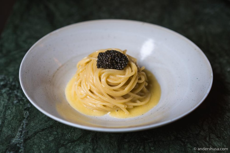 The best dish of 2020 was the spaghetti with anchovy butter and caviar from Barabba in Copenhagen, Denmark.