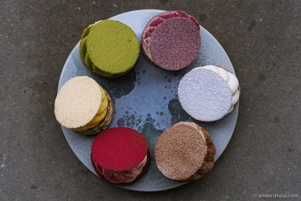 Colorful fastelavnsboller at Andersen Bakery.
