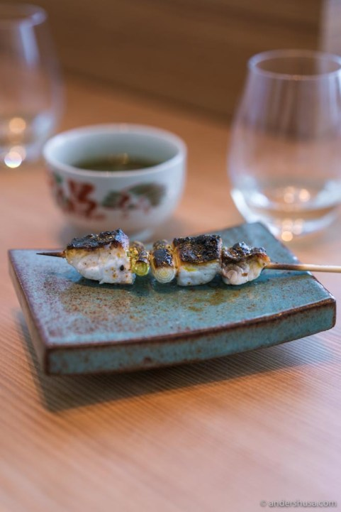 Grilled mullet yakitori, seven spice, and Sancho pepper.