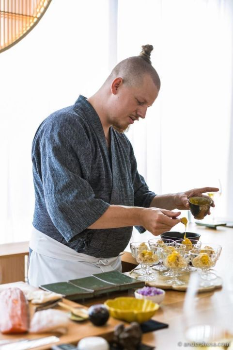 Chef Mads Battefeld trained in Tokyo before opening his sushi restaurant.