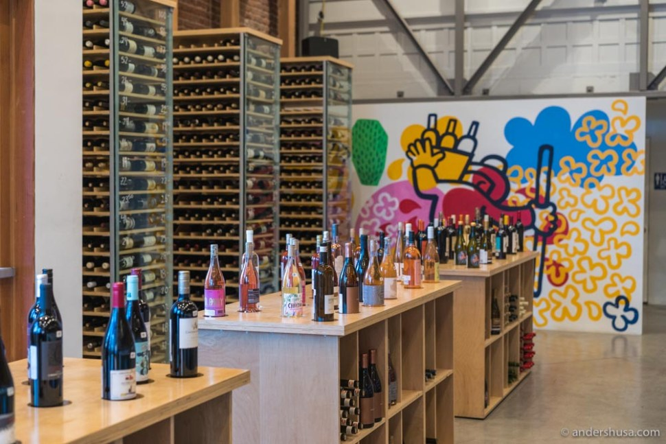 Bottles on display at Silverlake Wine's Arts District location.