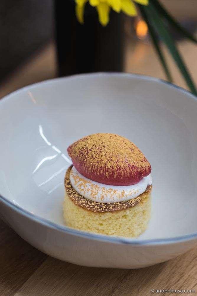 Vanilla cake, almond cream, raspberry sorbet, and gold flour.