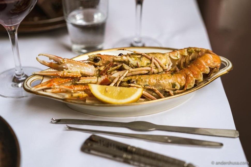 Grilled langoustines with ramson butter.