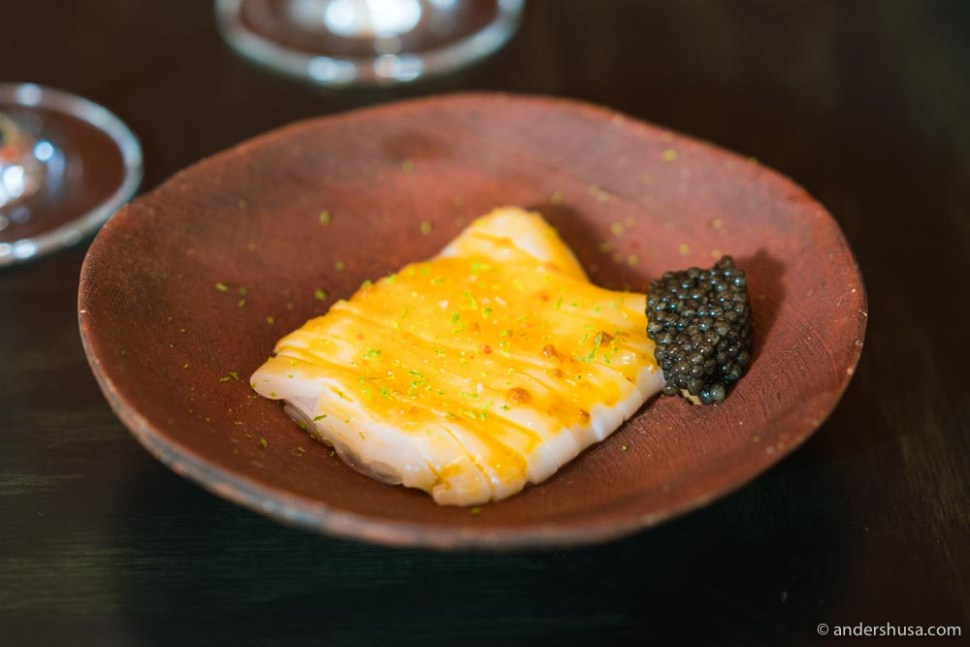 Danish squid, fermented chili paste, and caviar.