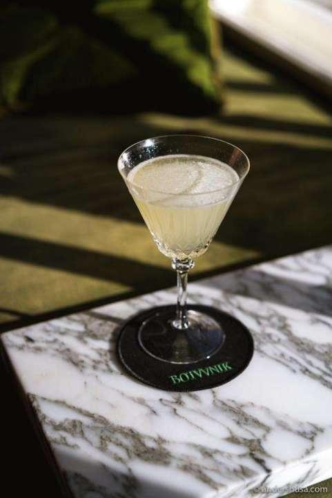 The Mediterranean Vodka Gimlet with bergamot, kaffir lime leaves, and lemon.