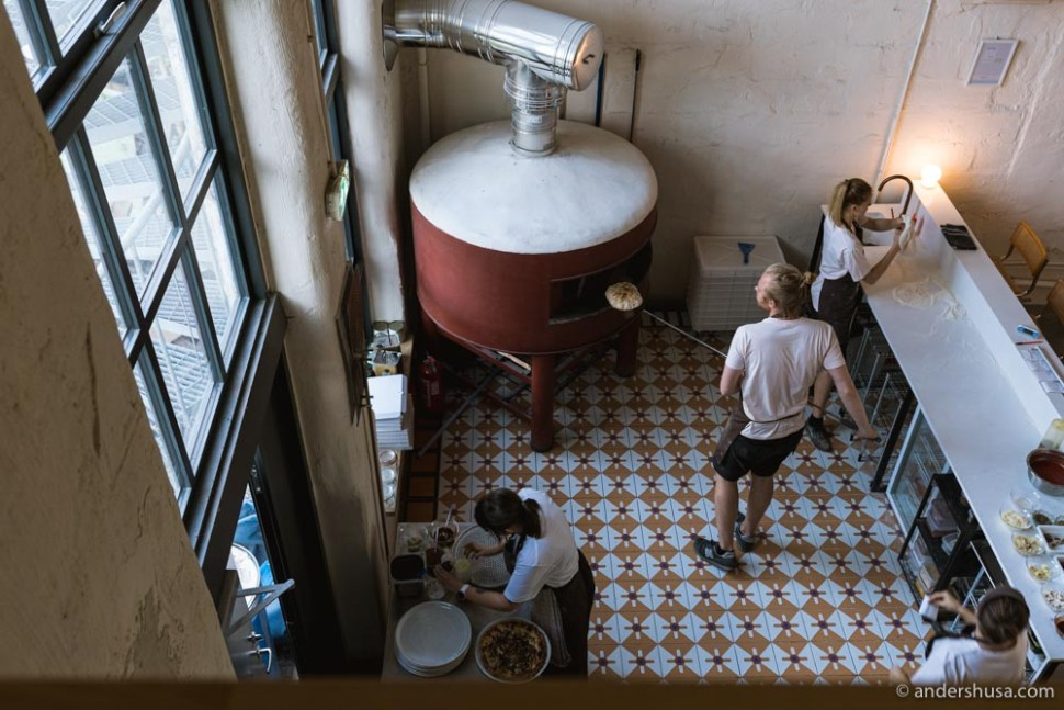 Looking down into the Barbarea kitchen from the second floor.