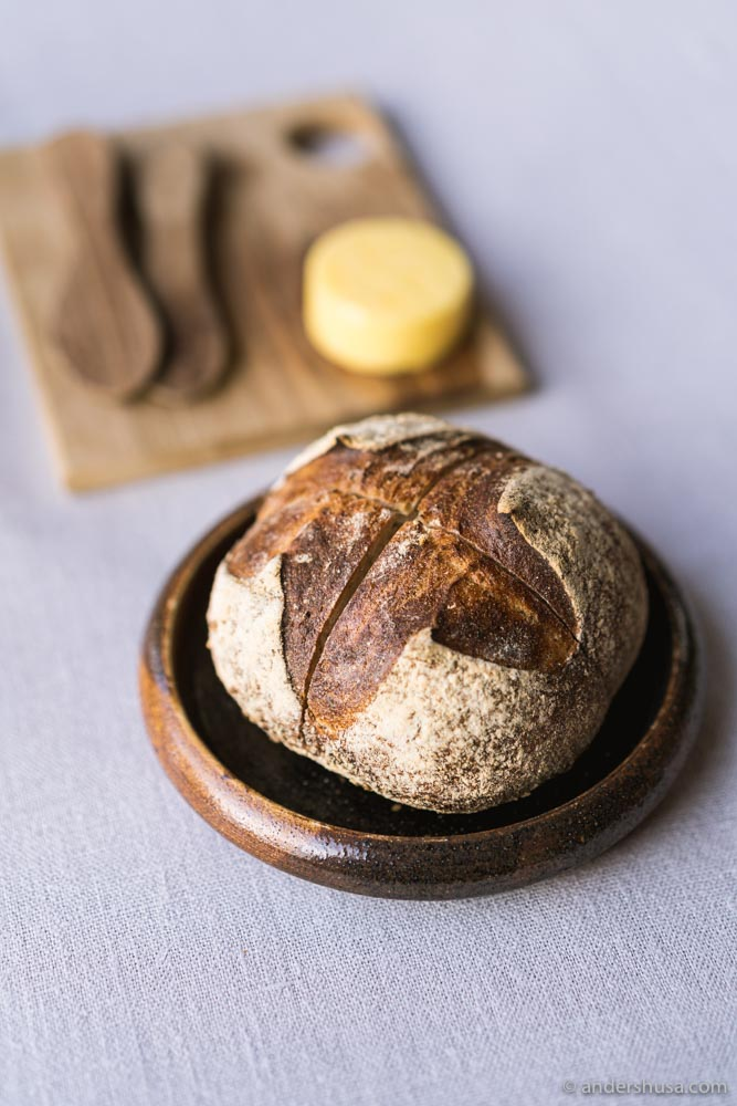 Sourdough bread and salted butter.